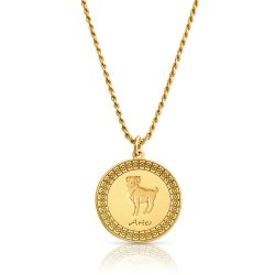 gold plated zodiac pendant : Aries