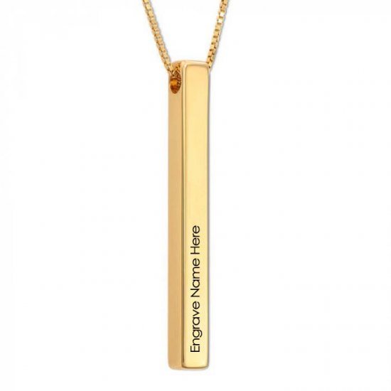 Engraved  3D long bar necklace in sterling silver with 18k gold plating