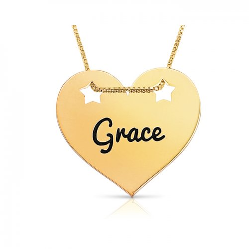 engraved heart pendant with stars in gold plated silver