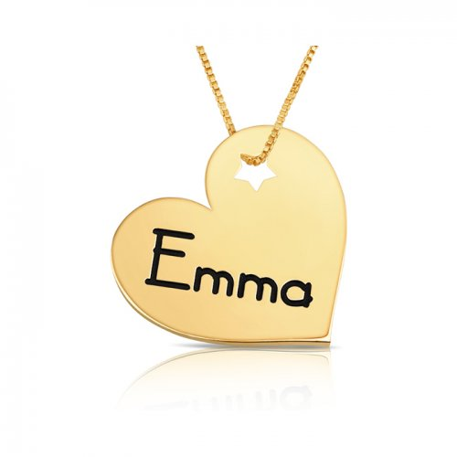 personalized engraved heart pendant with a star in gold plating