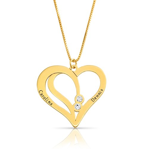 engraved couples necklace in gold plating