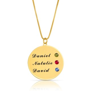 Engraved disc necklace with swarovski birthstones