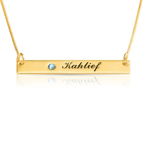 engraved bar necklace - 18k gold plated and swarovski birthstone