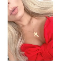 roman numeral cross neckalce - 18k gold plating
