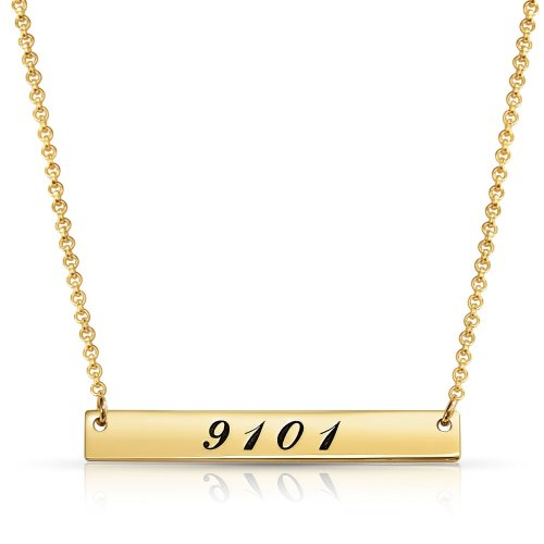 lucky number bar neckalce - 18k gold plating