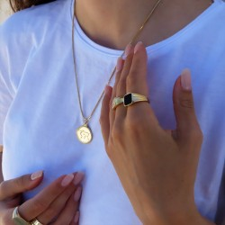 World Map Pendant Necklace -18k gold plated