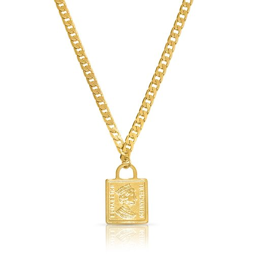 Queen Elizabeth Square Pendant Necklace - Gold Plated
