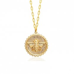 bee pendant necklace -18k gold plated silver