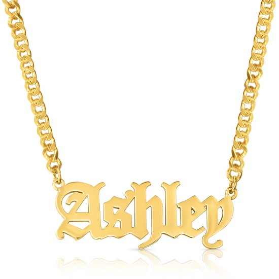 Gothic name necklace - 18k gold plated silver * 15% OFF WITH CODE:  sale1 *
