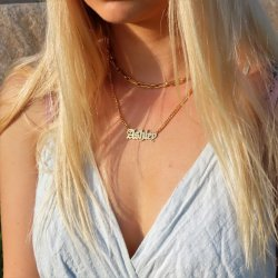 Gothic name necklace - 18k gold plated silver