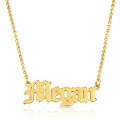 old English name necklace -18k gold plated silver * 15% OFF WITH CODE:  sale1 *