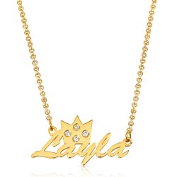 crown name necklace - 18k gold plated silver