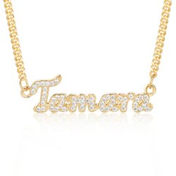 diamond name necklace - 18k gold plated