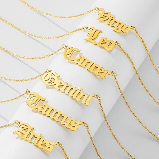 Zodiac Sign Necklace - Gothic Style