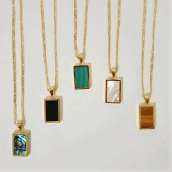 Shell Rectangle Pendant Necklace