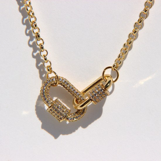 Gold Plated Double Circle Necklace with cubic zirconia