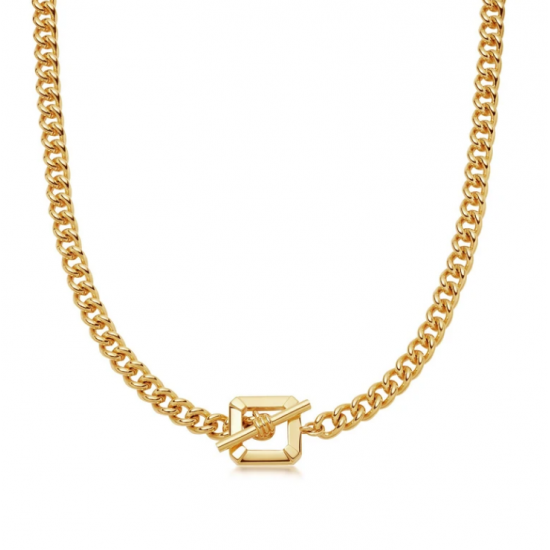 Gold Plated Square Clasp Link Chain Necklace