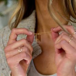 Roman numeral rectangle necklace