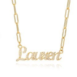 classic name necklace with cubic zirconia