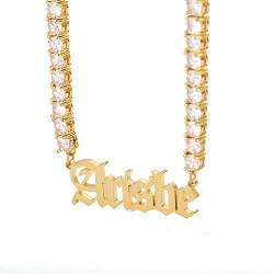 Gothic name necklace with cz chain