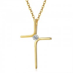 cross necklace 18k gold plated and cubic zirconia