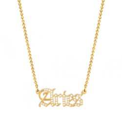 cubic zirconia old english zodiac necklace - aries