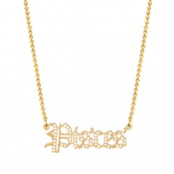 cubic zirconia old english zodiac necklace - pisces