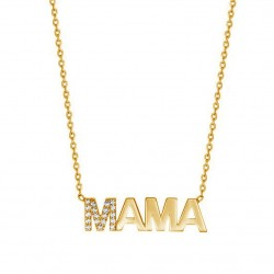 mama necklace in gold plating and cz stones
