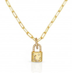 Lock necklace 18k gold plated silver