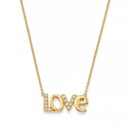 Love necklace in gold plating and cz stones