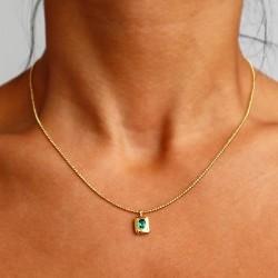 Rectangle pendant with green zircon gemstone