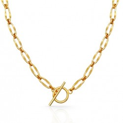 Gold T- bar necklace 18k gold plated over sterling silver