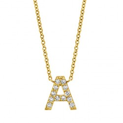 Initial letter pendant with cubic zirconia 18k gold plated