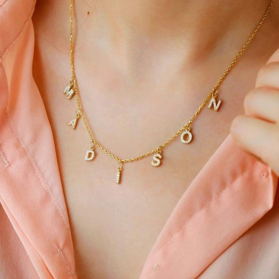 Choker name necklace 18k gold plated and cz