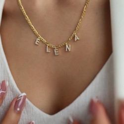 Custom name necklace with pave letters 18k gold plated