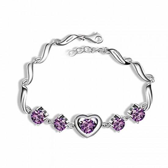 925 Sterling silver Heart Charm purple Zirconia  Bracelet