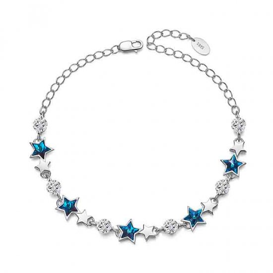 silver bracelet with blue star crystals from swarovski