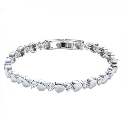 silver bracelet with hearts , cz stones &  crystals from swarovski