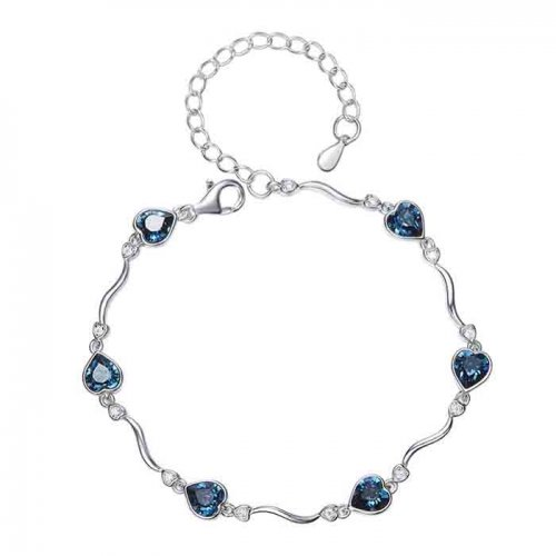 silver bracelet with heart shaped crystals from swarovski