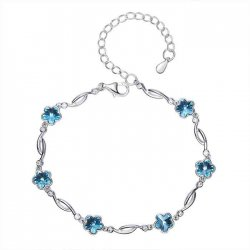 silver bracelet with flower shaped crystals from swarovski