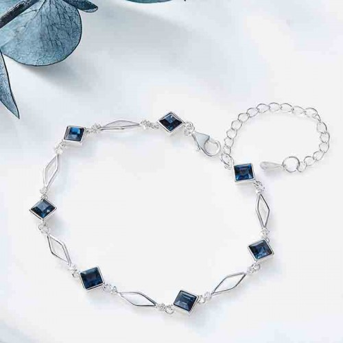 silver bracelet with blue square crystals from swarovski
