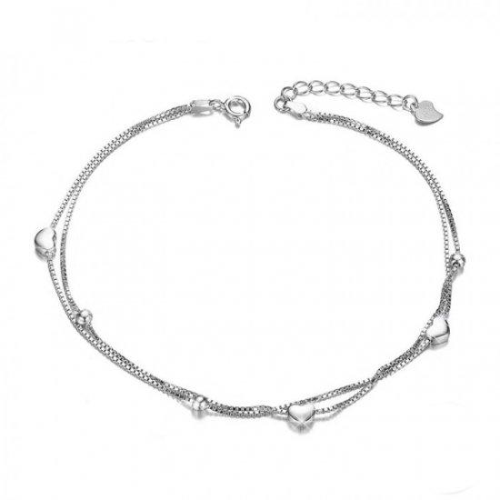 sterling silver heart anklet