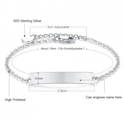 engraved bar bracelet in 925 sterling silver