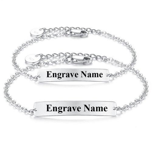 engraved bar bracelet in 925 sterling silver