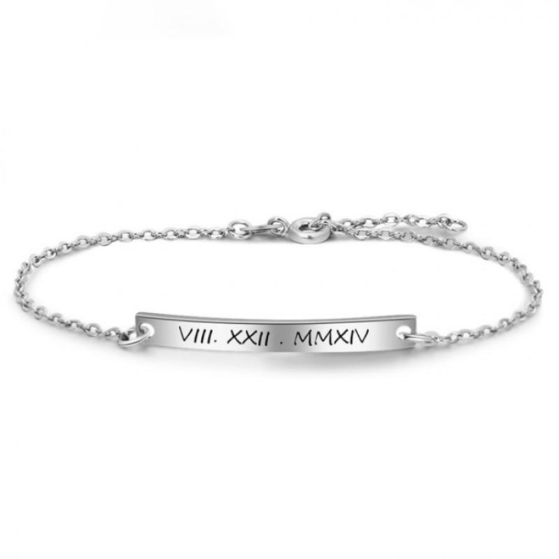 roman numeral bar bracelet in sterling silver