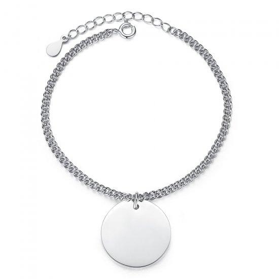 engraved disc bracelet in sterling silver