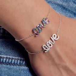 cubic zirconia love bracelet