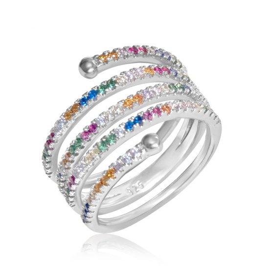 sterling silver spiral ring with colorful  zircon stones