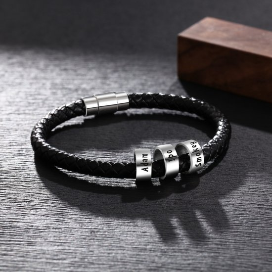 men bracelet with custom beads - 925 sterling silver
