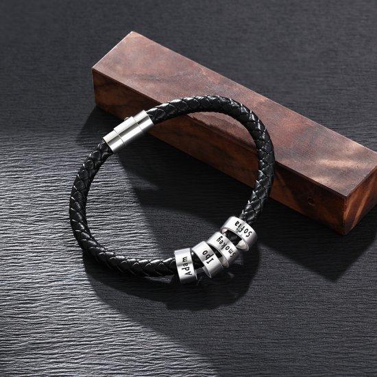 men bracelet with custom beads in sterling silver